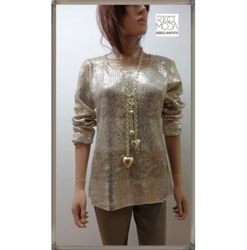 38 Keyra' donna 33 oversize maglia knitting woman dzhersi yersey oro 3800330609